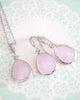 Ice Pink Teardrop Earrings