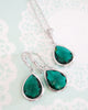 Emerald Teardrop Jeweley Set