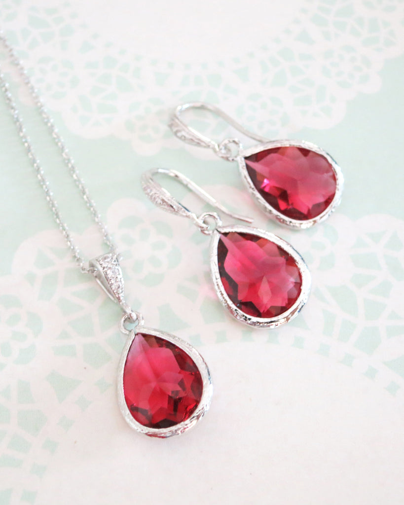 Ruby Red Teardrop Jewelry Set