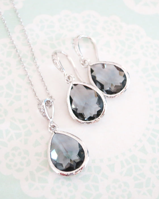 Grey Teardrop Necklace