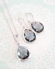 Grey Teardrop Jewelry Set