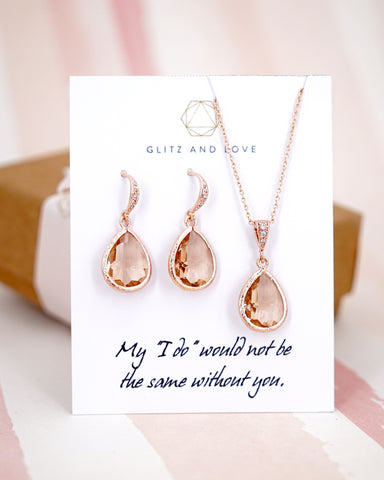 Rose Gold Champagne Teardrop Earrings and Necklace