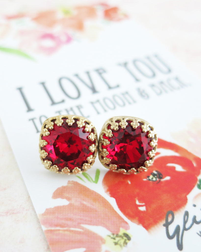 Siam Red Swarovski Crystal Gold Ear Studs