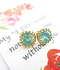 Seafoam Crystal Gold Ear Studs