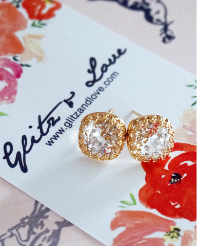 Gold Clear Crystal Ear Studs