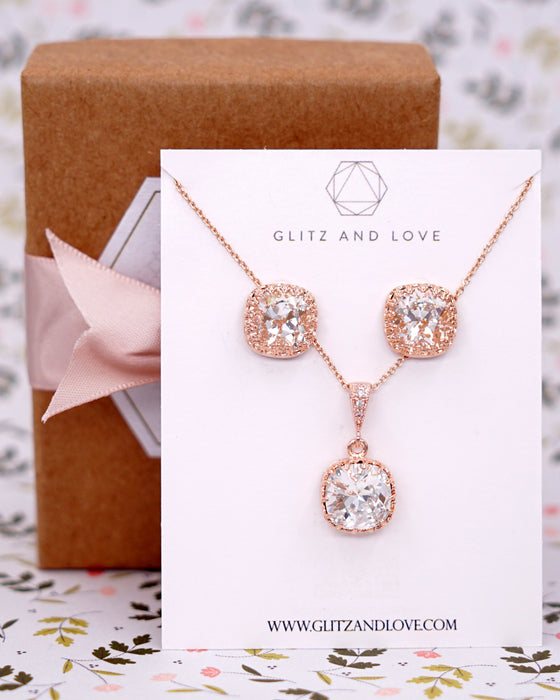 Rose Gold Cushion Crystal Necklace