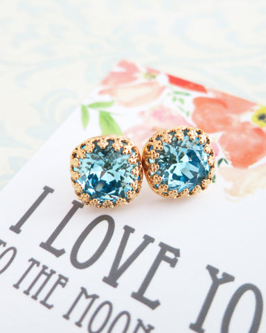Aquamarine Blue Crystal Gold Ear Studs