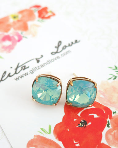 Yellow Gold Mint Swarovski Crystal Ear Studs