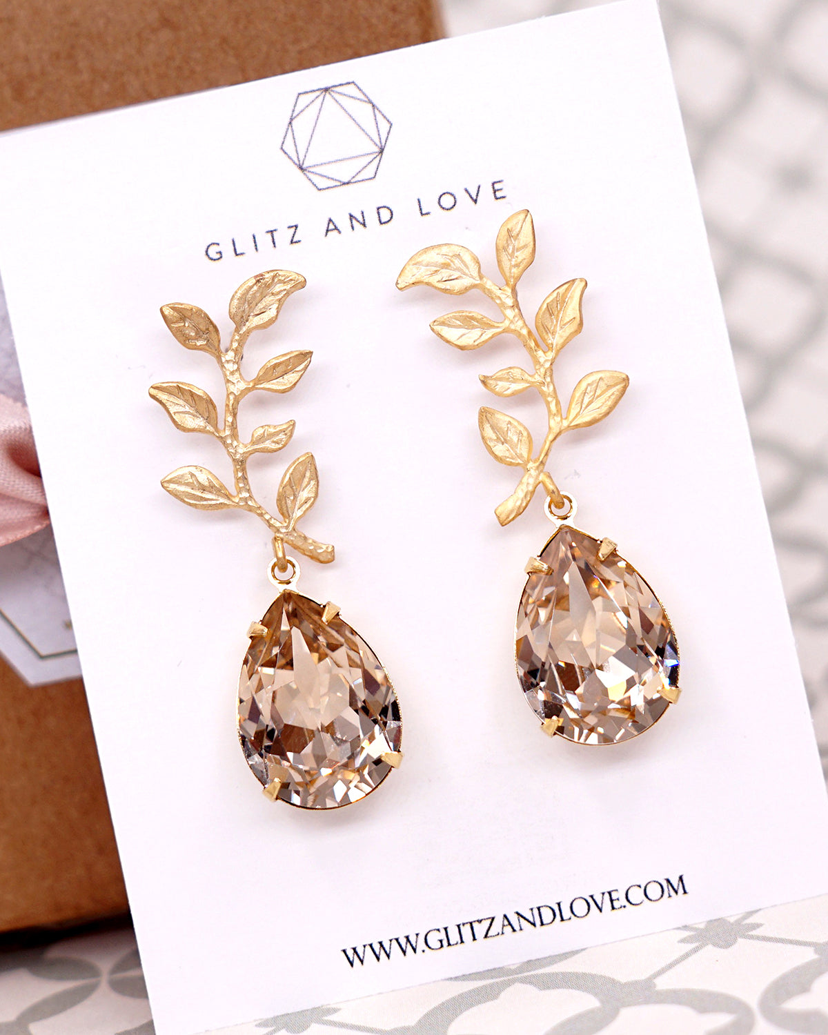 Gold Olive Leaf Crystal Earrings | Feminine Natural Inspired Jewelry