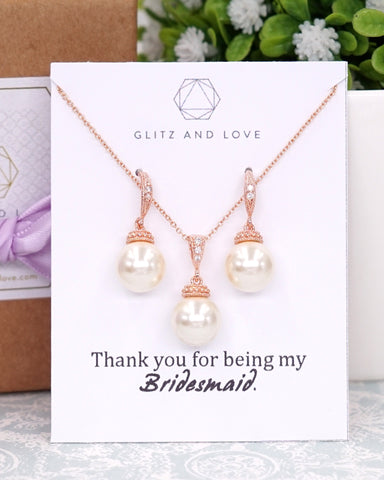 Pearl Jewelry Earrings Necklace Bracelet Bridal Bridesmaid Gifts