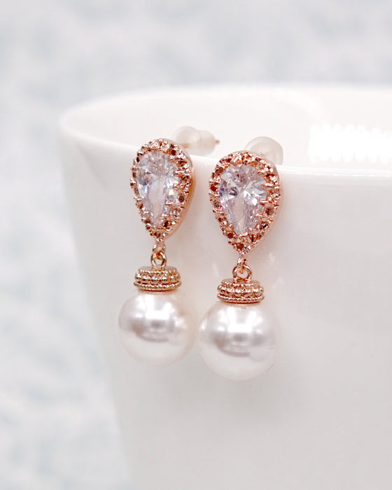 Rose Gold Pearl Jewelry Set