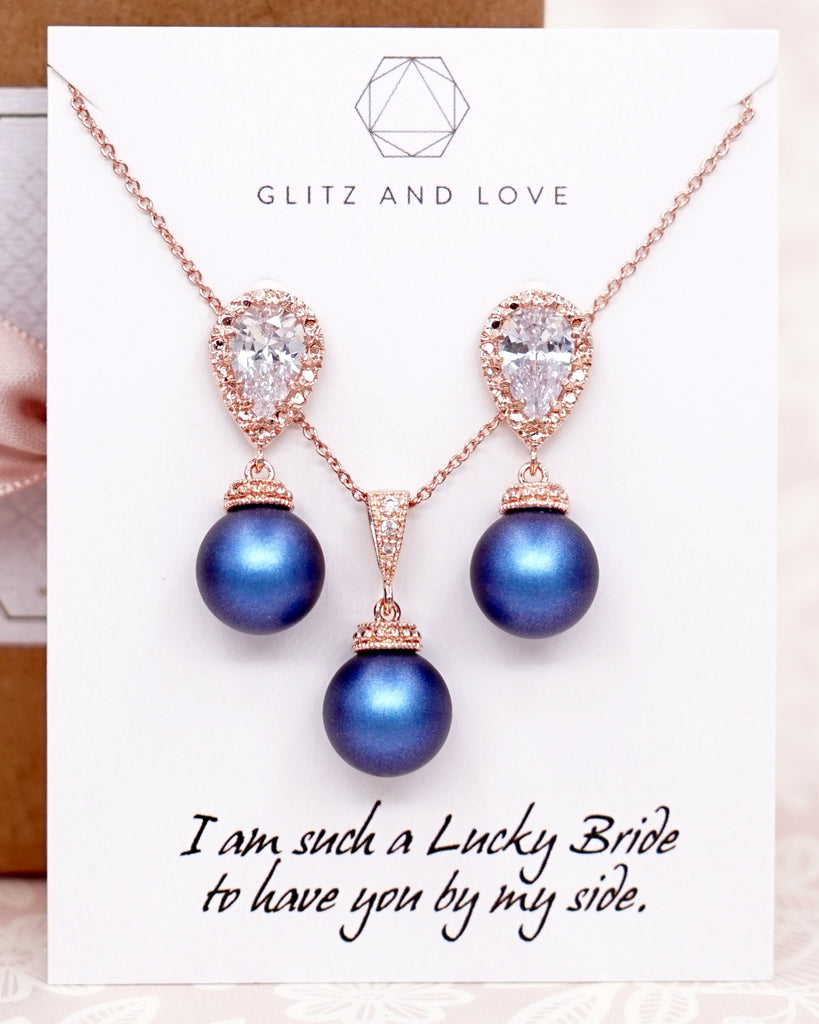Navy Blue Pearl Rose Gold Jewelry Set