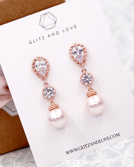 Rose Gold Pearl Necklace Set
