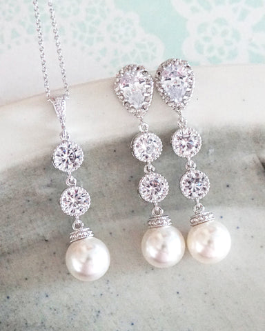 Pearl Long Earrings Set