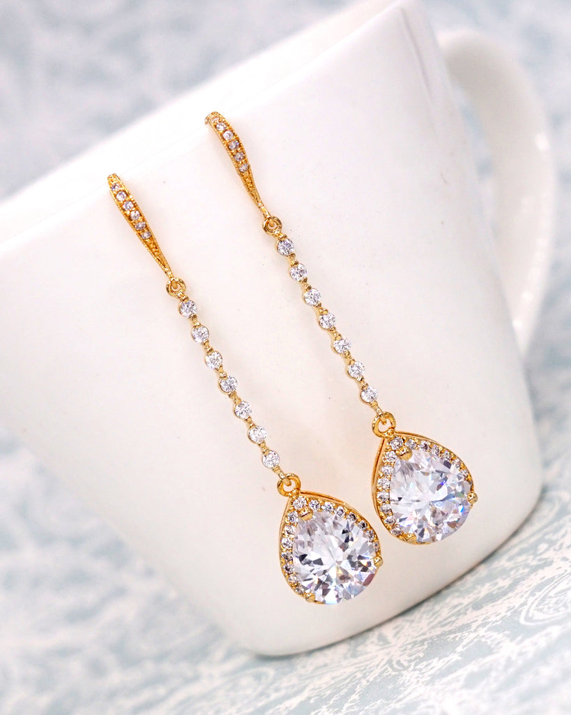 Gold Teardrop Long Earrings