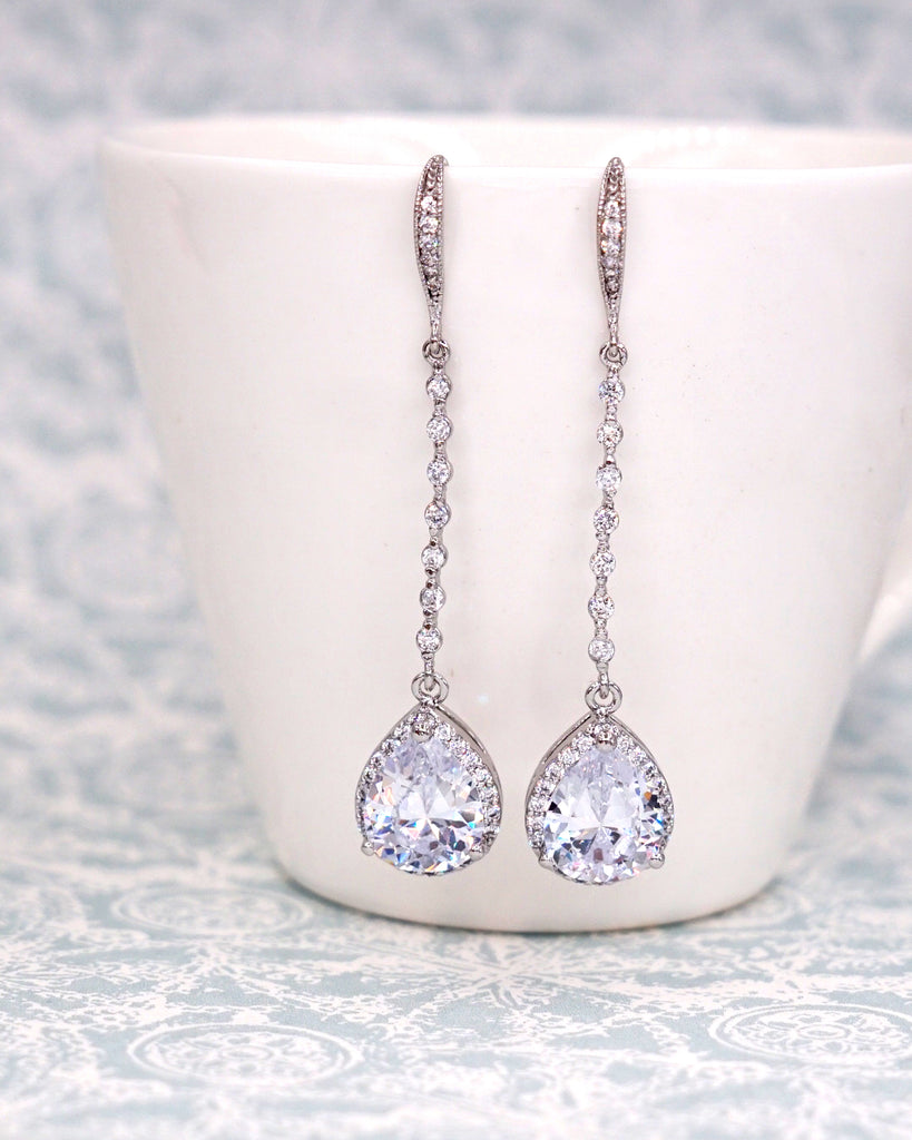 Silver Teardrop Long Earrings