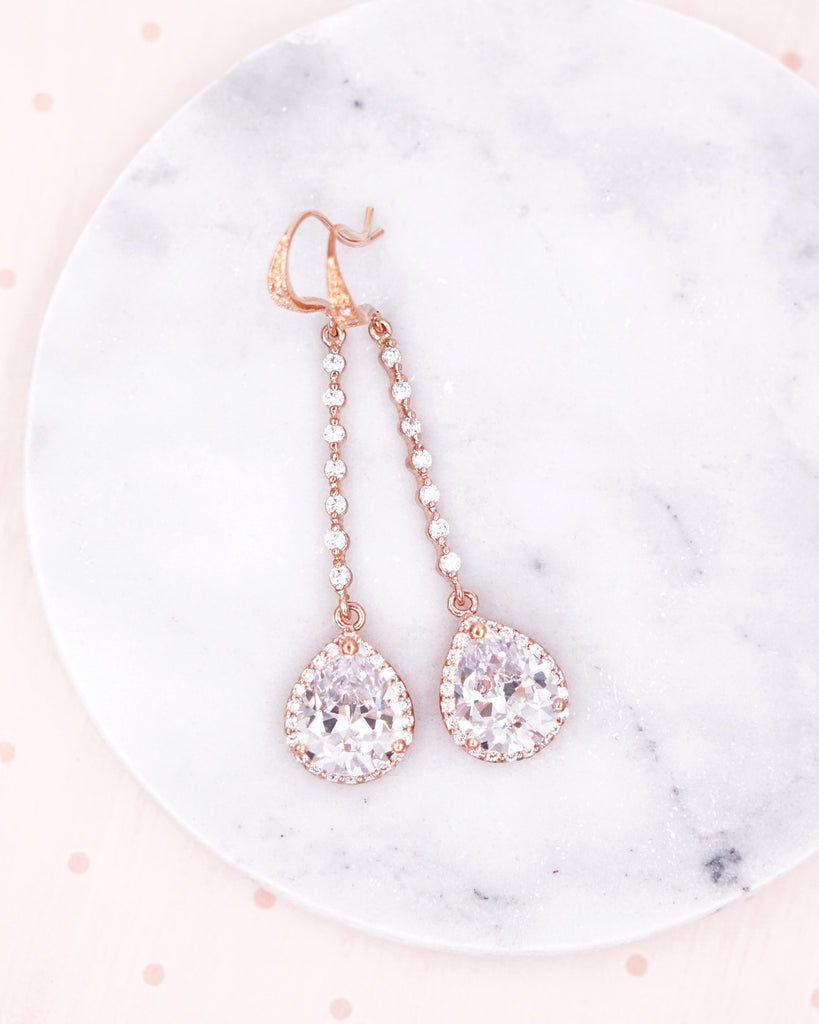 Rose Gold Teardrop Long Earrings