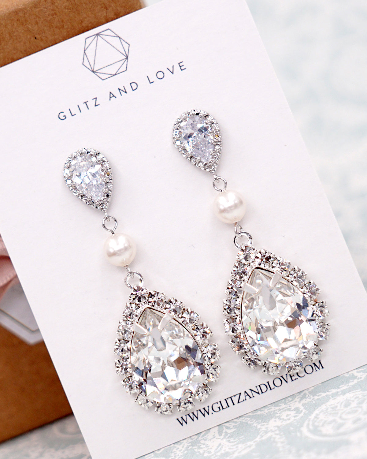Crystal Teardrop Pearl Earrings Timeless Wedding Bride Bridal Jewelry