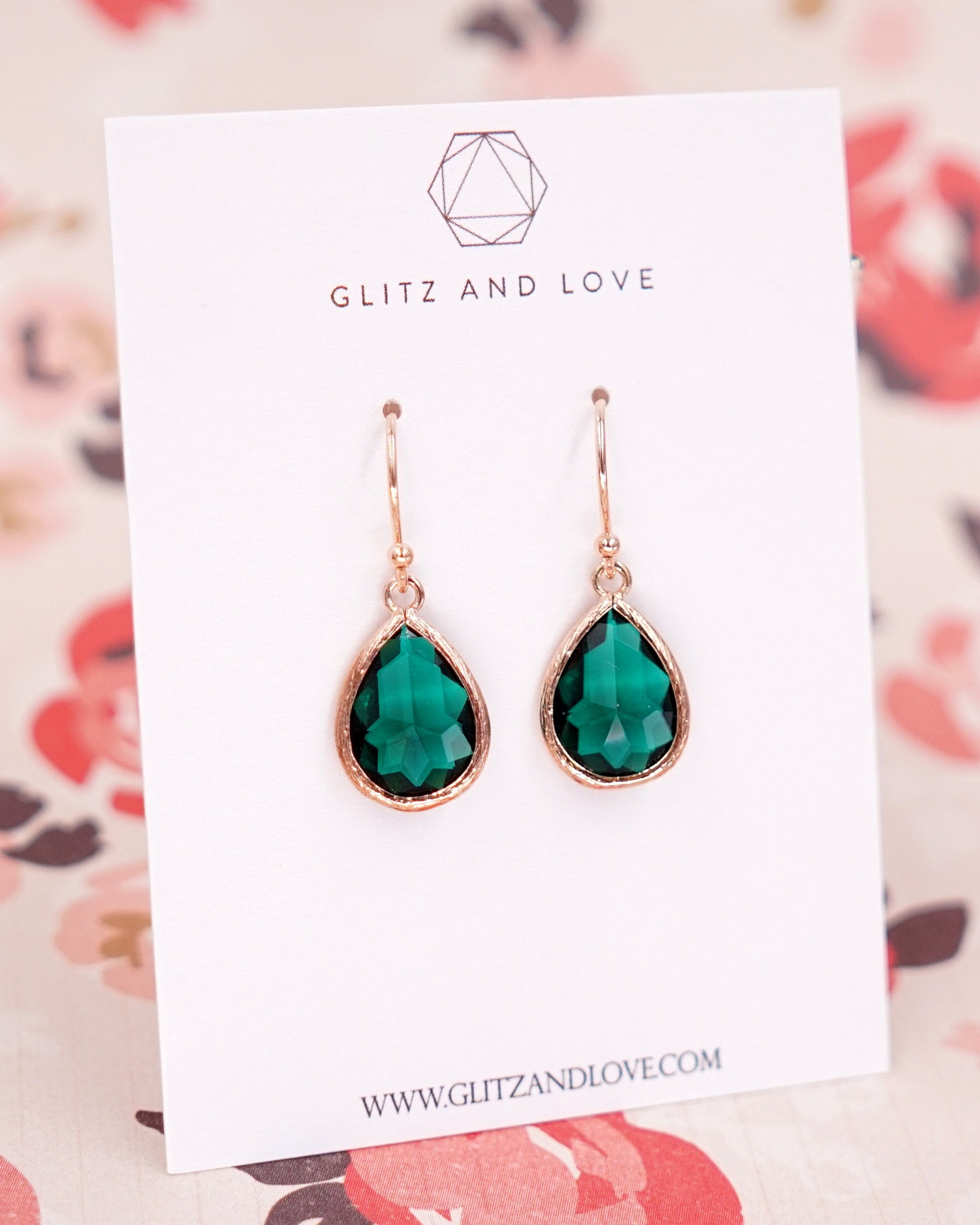 Emerald Teardrop Rose Gold Earrings | Bridal Bridesmaids Jewelry Gifts