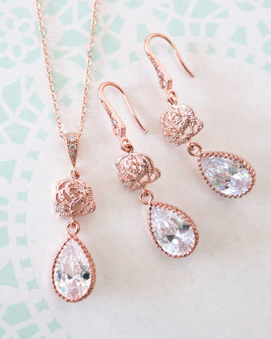 Rose Gold Flower Jewelry Set