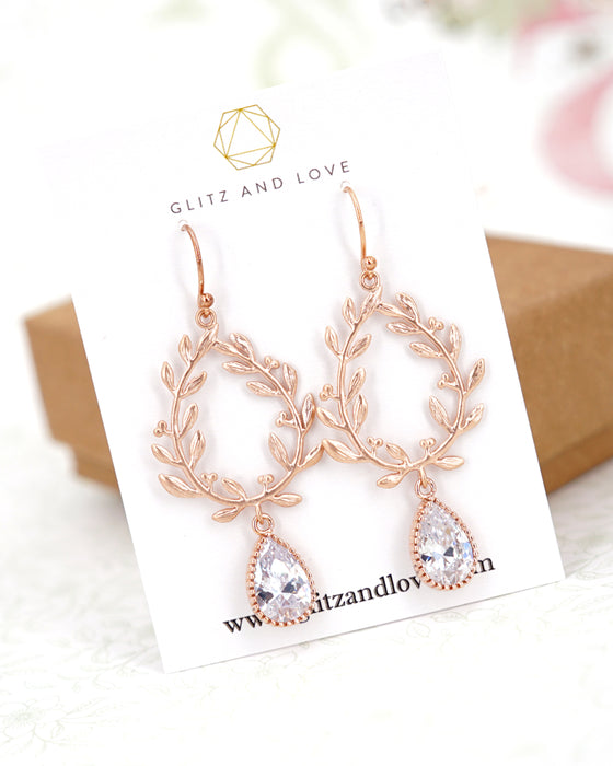 Laurel Wreath Necklace and Earrings| Rose Gold Wedding Bridal Brides Bridesmaid