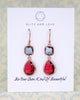 Grey Ruby Rose Gold Earrings