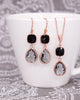 Jet Black & Grey Rose Gold Earrings