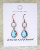 Erinite Aquamarine Blue Rose Gold Earrings