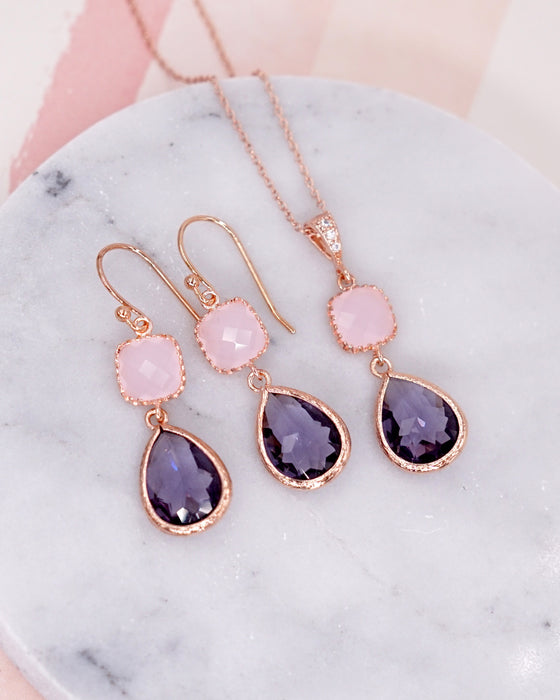 Pink Amethyst Purple Rose Gold Earrings