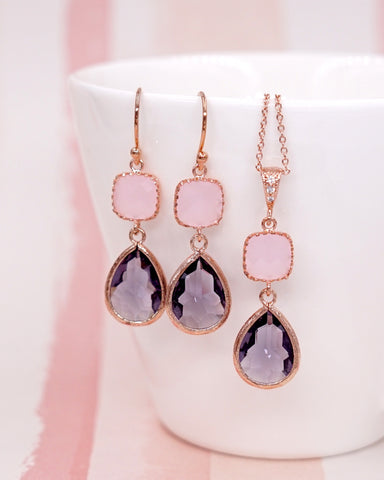 Pink Amethyst Purple Rose Gold Jewelry Set