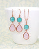 Mint Pink Rose Gold Jewelry Set