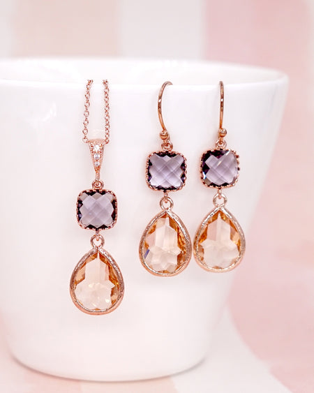 Amethyst & Champagne Rose Gold Earrings | Everyday Colorful Chic Jewelry