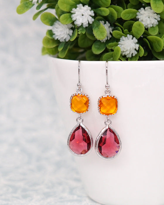 Orange & Red  Rose Gold Earrings | Everyday Colorful Jewelry Gifts