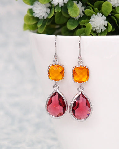 Orange Red Rose Gold Jewelry Set