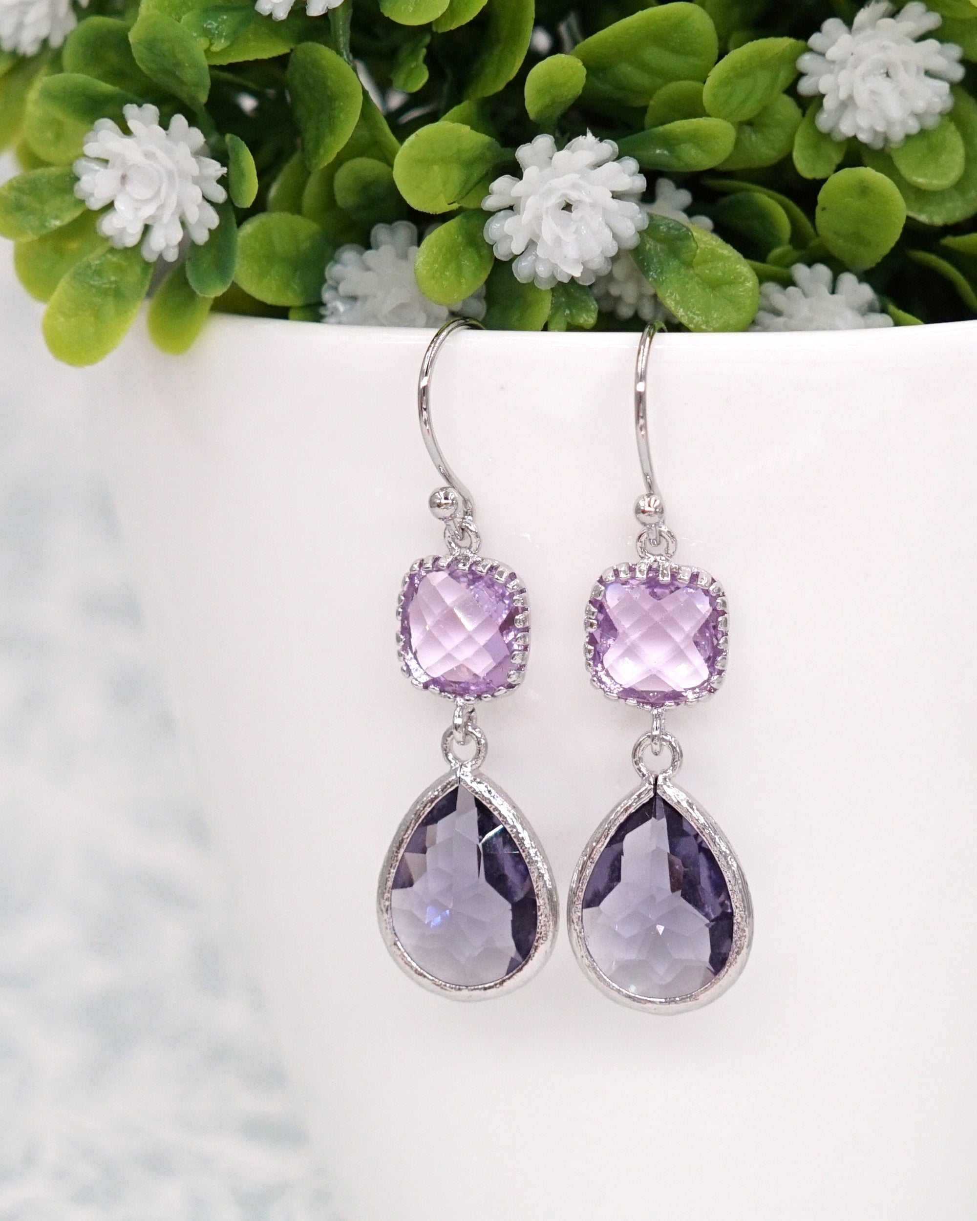 Amethyst & Purple Rose Gold Earrings | Everyday Colorful Chic Jewelry