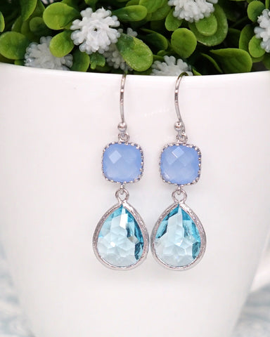 Ice Blue Aquamarine Silver Earrings