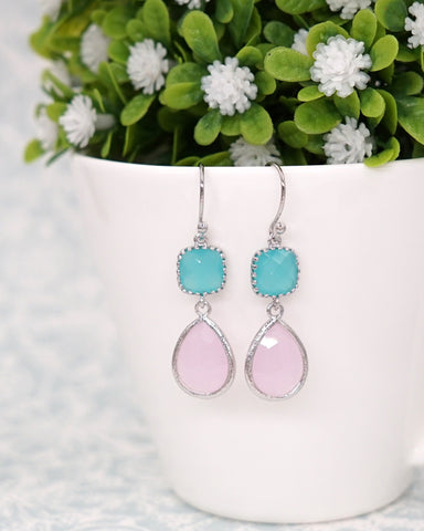 Mint Pink Silver Earrings