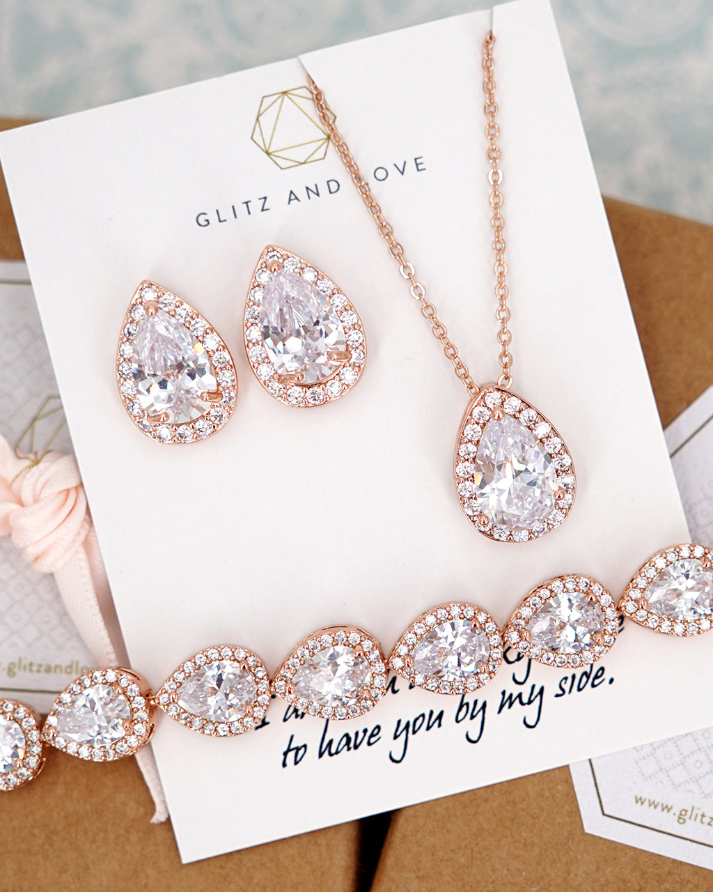 Cubic Zirconia Bridesmaid Jewelry,Brides Gifts,Set Gold Filled Crystal Wedding Jewelry Clear Earrings and Necklace Set Bridesmaid