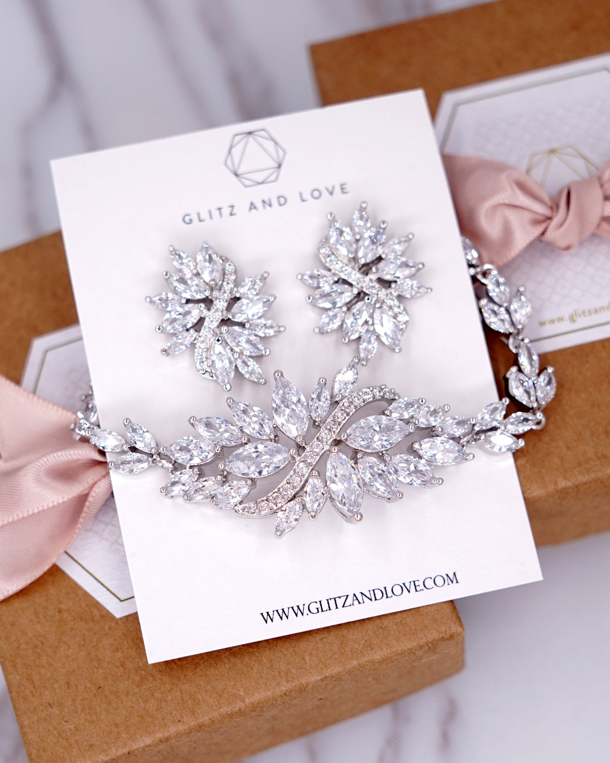 Cluster Earrings & Bracelet | Wedding and Special Occasion Jewelry | Brides Bridesmaids Bridal Shower gifts