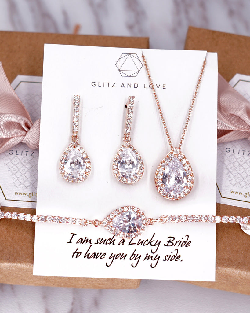 Rose Gold Teardrop CZ Set