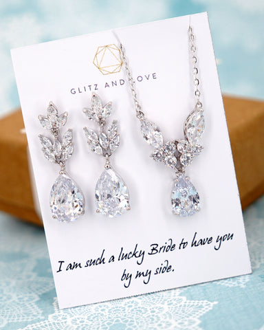 Silver Cubic Zirconia Marquise Set