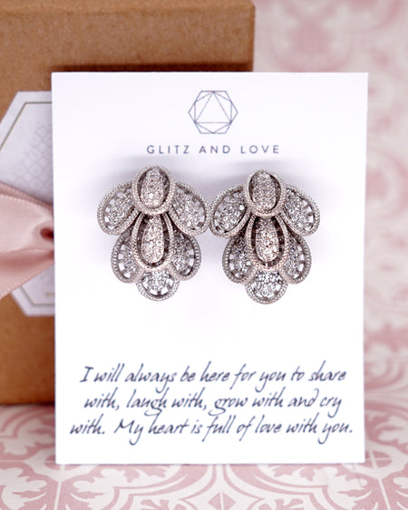 Petal Cubic Zirconia Earrings | Whimsical Unique Elegant Jewelry gift