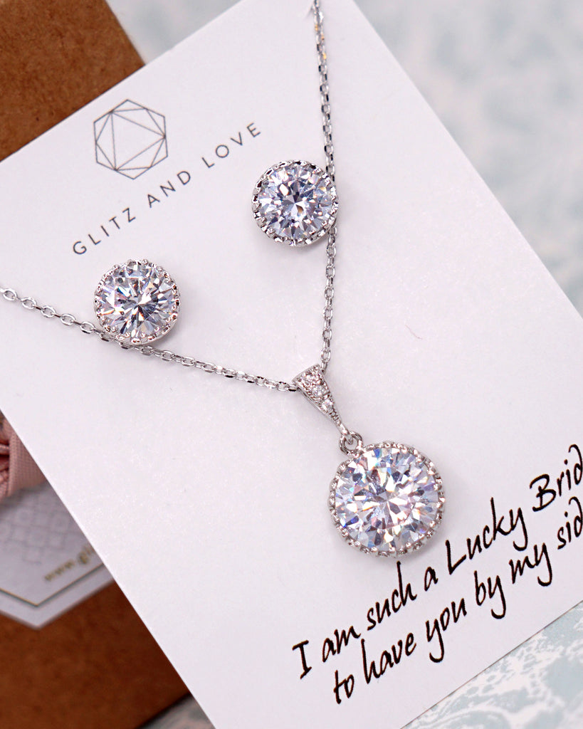 Simple Silver Cubic Zirconia Jewelry Set
