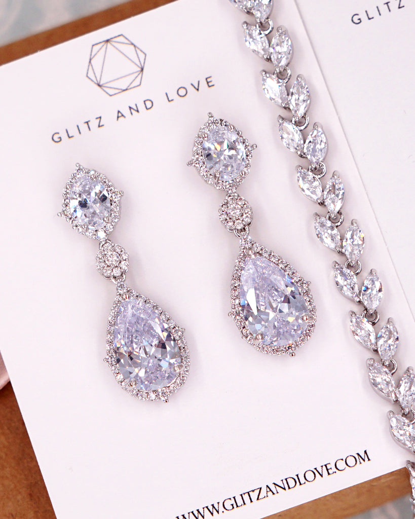Silver CZ Jewelry Set