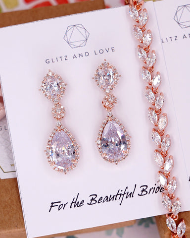 Rose Gold CZ Jewelry Set