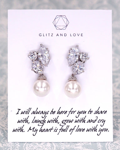 Cluster Earrings with Pearl