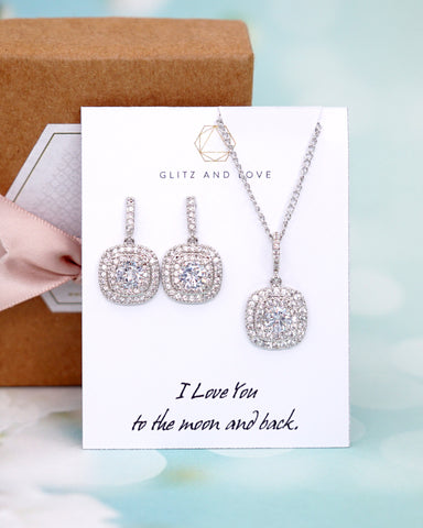 Rounded Square Silver CZ Jewelry Set