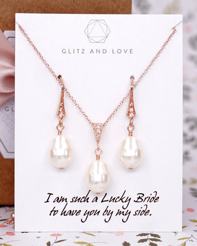 Rose Gold Teardrop Pearl Earrings