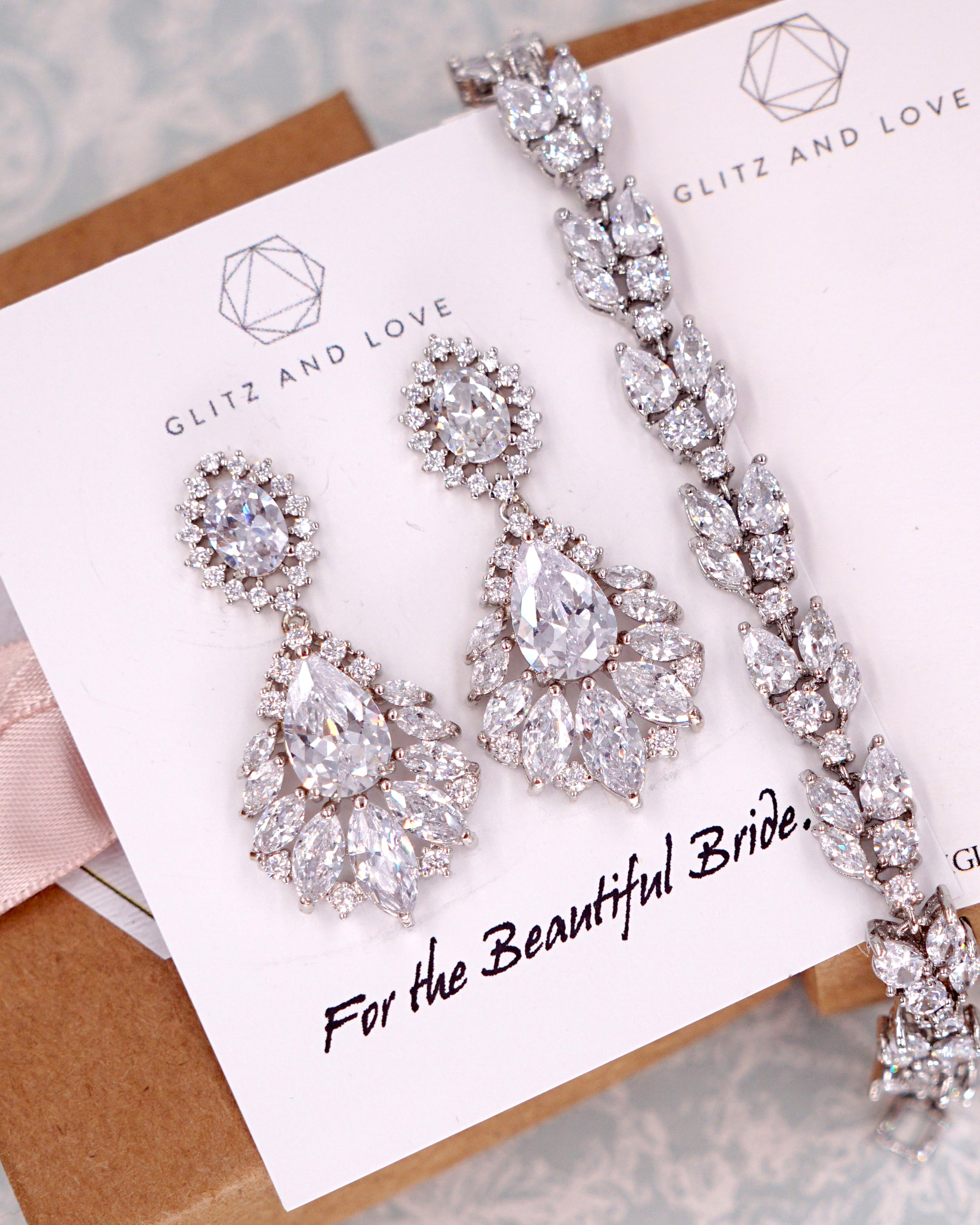Glitz & Love | Silver Chandelier Crystal Earrings | Brides Bridal Gift