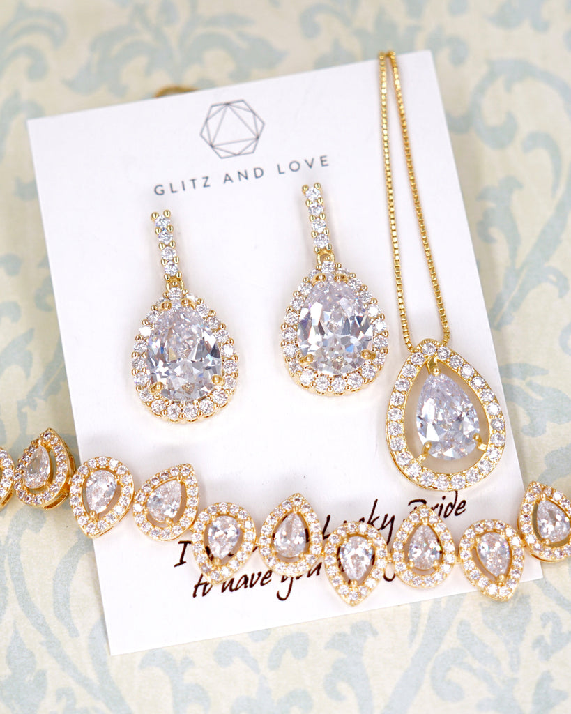 Gold Teardrop CZ Jewelry Set